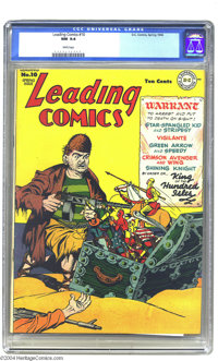 Leading Comics #10 (DC, 1944) CGC NM 9.4 White pages. Features Star-Spangled Kid, Stripesy,Green Arrow, Speedy, the Crim...