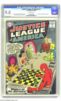 Silver Age (1956-1969):Superhero, Justice League of America #1 (DC, 1960) CGC VF/NM 9.0 Off-whitepages. Murphy Anderson's dramatic cover ranks high among the...