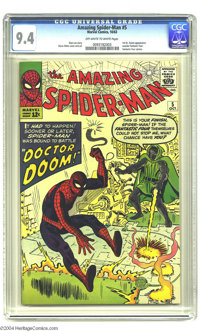 The Amazing Spider-Man #5 (Marvel, 1963) CGC NM 9.4 Off-white to white pages. One of the most feared villains of all, Do...