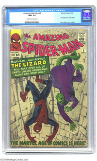 The Amazing Spider-Man #6 (Marvel, 1963) CGC NM+ 9.6 Off-white to white pages. Memorable villain the Lizard made his fir...