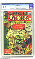 Silver Age (1956-1969):Superhero, The Avengers #1 (Marvel, 1963) CGC VF/NM 9.0 Off-white to whitepages. In this issue, Marvel brought together established st...