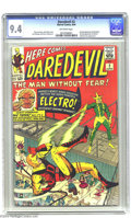 Silver Age (1956-1969):Superhero, Daredevil #2 (Marvel, 1964) CGC NM 9.4 Off-white pages. The ManWithout Fear battles one of Spidey's nemeses, Electro, in th...