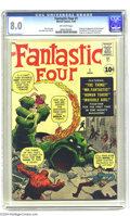 Silver Age (1956-1969):Superhero, Fantastic Four #1 (Marvel, 1961) CGC VF 8.0 Off-white pages. Here'sthe third most-valuable comic of the Silver Age, and the...