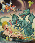 """Original Comic Art:Paintings, Carl Barks - """"Duck Rogers"""" Painting and Sketches Original Art (1979). This painting, which had as a working title """"This Nude... (Total: 3 Original Art Item)"""