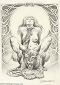 "Original Comic Art:Splash Pages, Frank Brunner - ""Whiskers"" Pin Up Original Art (1974). For animallovers of all types, here's a pretty portfolio piece from ..."