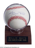 Autographs:Baseballs, WILLIE MAYS SIGNED BASEBALL. Superstar Hall of Famer ...