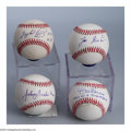 Autographs:Baseballs, 4 HISTORIC PITCHERS SIGNED BASEBALLS 4 CT. Pitchers who ...