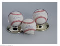 Autographs:Baseballs, Baseball Autograph 3 CT. CLEVELAND INDIANS HOF SIGNED ... (3 items)