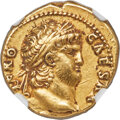 Ancients:Roman Imperial, Ancients: Nero, as Augustus (AD 54-68). AV aureus (18mm, 7.28 gm, 8h). NGC Choice XF 4/5 - 3/5....