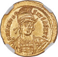 Ancients:Roman Imperial, Ancients: Theodosius II, Eastern Roman Empire (AD 402-450). AV solidus (20mm, 4.48 gm, 7h). NGC Choice MS 5/5 - 5/5....