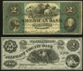 Obsoletes By State:Maryland, Baltimore, MD- American Bank $2 Dec. 1, 1863 G4a Shank 5.2.2 Fine-Very Fine;. Cumberland, MD-Allegany County Bank $... (Total: 2 notes)