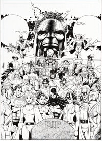 George Perez Crisis on Multiple Earths Volume 5 Trade Paperback Cover Original Art (DC, 2010)