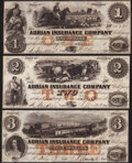 Obsoletes By State:Michigan, Adrian, MI- Adrian Insurance Company $1; $2; $3 18__ Remainders Crisp Uncirculated.. ... (Total: 3 notes)
