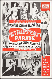 """Strippers Parade (Beautiful Productions Inc., 1956). Folded, Very Fine. One Sheet (27"""" X 41""""). Sexploitation..."""