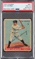 Baseball Collectibles:Others, 1933 Goudey Lou Gehrig #92 Signed by Lou Gehrig, PSA Fair 1.5, Auto 8....