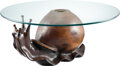Furniture, Attributed to Federico Armijo (American, b. 1946). Snail Table, circa 1970. Pine, glass, brass. 18-1/2 x 26 x 15 inches ...