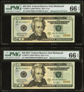 Error Notes:Mismatched Serial Numbers, Mismatched Serial Number 9470/9479 Error Fr. 2097-E $20 2013 Federal Reserve Notes. Two Consecutive Examples. PMG Gem Uncircul... (Total: 2 notes)