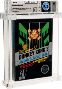 Donkey Kong 3 - Wata 9.2 A+ Sealed [Hangtab, 2 Code, Mid-Production], NES Nintendo 1986 USA