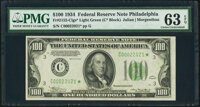 Fr. 2152-C* $100 1934 Light Green Seal Federal Reserve Note. PMG Choice Uncirculated 63 EPQ