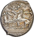 Ancients: SICILY. Catana. Ca. 415-403/2 BC. AR tetradrachm (27mm, 17.25 gm, 2h). NGC AU★ 5/5 - 5/5, Fine Style