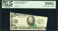 Misaligned Overprint, Cutting Error Fr. 2077-H $20 1990 Federal Reserve Note. PCGS Choice About New 55PPQ