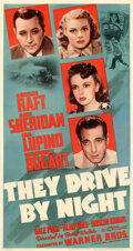 """Movie Posters:Crime, They Drive by Night (Warner Bros., 1940). Very Fine- on Linen. Three Sheet (41.5"""" X 78.5"""").. ..."""