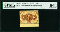 Fr. 1229 5¢ First Issue PMG Choice Uncirculated 64 EPQ