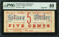 Obsoletes By State:Pennsylvania, Johnstown, PA- Cambria Iron Works - Wood, Morrel & Co. 5¢ ___ 1863 Remainder Hoober UNL PMG Extremely Fine 40.. ...