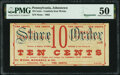 Johnstown, PA- Cambria Iron Works - Wood, Morrel & Co. 10¢ ___ 1863 Remainder Hoober UNL PMG About Uncirculated...