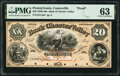 Coatesville, PA- Bank of Chester Valley $20 18__ as G12a as Hoober 69-5/6 Proof PMG Choice Uncirculated 63
