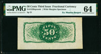 Fr. 1339SP 50¢ Third Issue Spinner Type II Back PMG Choice Uncirculated 64