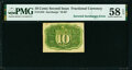 Fractional Currency:Second Issue, Fr. 1245 10¢ Second Issue Inverted Back Surcharge PMG Choice About Unc 58 EPQ.. ...