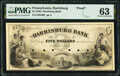 Obsoletes By State:Pennsylvania, Harrisburg, PA- Harrisburg Bank $5 185_ as G38 as Hoober 148-18 PMG Choice Uncirculated 63.. ...