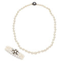 Estate Jewelry:Suites, Cultured Pearl, Sapphire, White Gold Jewelry Suite. ... (Total: 2 Items)