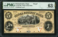 Obsoletes By State:Pennsylvania, Tioga, PA- Tioga County Bank $5 18__ G6a as Hoober 401-4 Proof PMG Choice Uncirculated 63 EPQ.. ...
