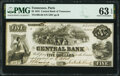 Obsoletes By State:Tennessee, Nashville, TN- Central Bank of Tennessee, Paris Branch $5 July 10, 1855 G46 PMG Choice Uncirculated 63 EPQ.. ...