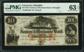 Obsoletes By State:Tennessee, Memphis, TN- Farmers' & Merchants' Bank of Memphis $10 Aug. 1, 1854 G58c S-C M-B.F&M-10-3e PMG Choice Uncirculated 63 EPQ....