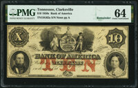 Clarksville, TN- Bank of America, Branch Issue $10 18__ Remainder G62a S-C Cr-B.Ame-10-2 PMG Choice Uncirculated
