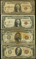 Small Size:World War II Emergency Notes, Fr. 2300 $1 1935A Hawaii Silver Certificates. Two Examples. Very Good or Better;. Fr. 2302 $5 1934A Hawaii Federal Reserve... (Total: 6 notes)