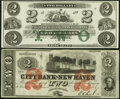 Obsoletes By State:Rhode Island, New Haven, CT-City Bank of New Haven $2 July 1, 1865 Remainder Choice Crisp Uncirculated;. Newport, RI- New England Co... (Total: 2 notes)