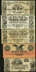 Obsoletes By State:Louisiana, New Orleans, LA- New Orleans Canal and Banking Company $5; $10 (3); $20 18__ Remainders Extremely Fine-About Uncirculated... (Total: 5 notes)