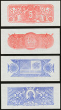 Confederate Notes:Group Lots, Complete Denomination Set of Confederate Chemicograph Fourth Printing Reverse 1 Backs $500; $100; $50; $20; $10; $5 circa 1957... (Total: 10 items)