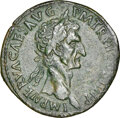 Ancients:Roman Imperial, Ancients: Nerva (AD 96-98). AE sestertius (33mm, 27.69 gm, 5h). NGC XF 4/5 - 2/5, smoothing. ...