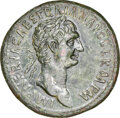 Ancients:Roman Imperial, Ancients: Trajan (AD 98-117). AE sestertius (34mm, 29.31 gm, 6h). NGC Choice AU 5/5 - 2/5, smoothing. ...