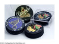 Hockey Collectibles:Others, Hockey Autograph 4 CT. SIGNED HOCKEY PUCKS. Includes ... (4 items)