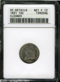 Bust Dimes: , 1831 Fine12--Cleaned--ANACS, VF Details....