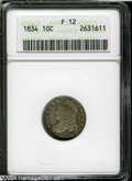 Bust Dimes: , 1834 Small 4 Fine12 ANACS. ...