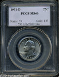 Washington Quarters: , 1991-D MS66 PCGS. ...