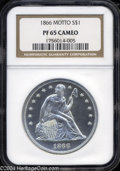 Proof Seated Dollars: , 1866 Motto PR 65 Cameo NGC. ...