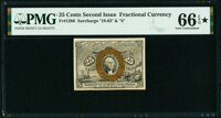 Fr. 1286 25¢ Second Issue PMG Gem Uncirculated 66 EPQ★